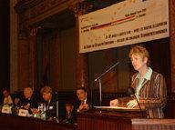Angelika Schwall-Düren plädiert für ein soziales Europa; (v.l.n.r.) Jopp, Szanyi, Balázs, Hámori, Schwall-Düren
