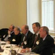 Panel Arbeitsgruppe II (v.l.): Prof. Dr. Angelo Petroni; Joscha Schmierer; Prof. Carlo Secchi; Jo Leinen, MdEP; Dr. Franco Tato