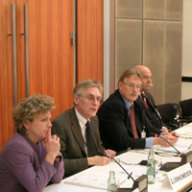 Panel Arbeitsgruppe I: GASP und ESVP (v.l.): Prof. Gisela Müller-Brandeck-Bocquet; Dr. Eckard Lübkemeier VLRI; Dr. Mathias Jopp; Gen. Giuseppe Cucchi