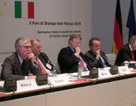 Panel (v.l.): Dr. Eckart Cuntz; Dr. Ulrich Weiss; Dr. Mathias Jopp; Dr. Umberto Ranieri; Dr. Werner Hoyer, MdB
