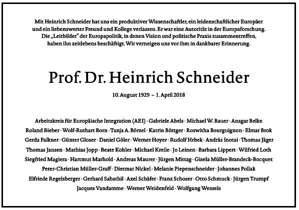 Traueranzeige Heinrich Schneider